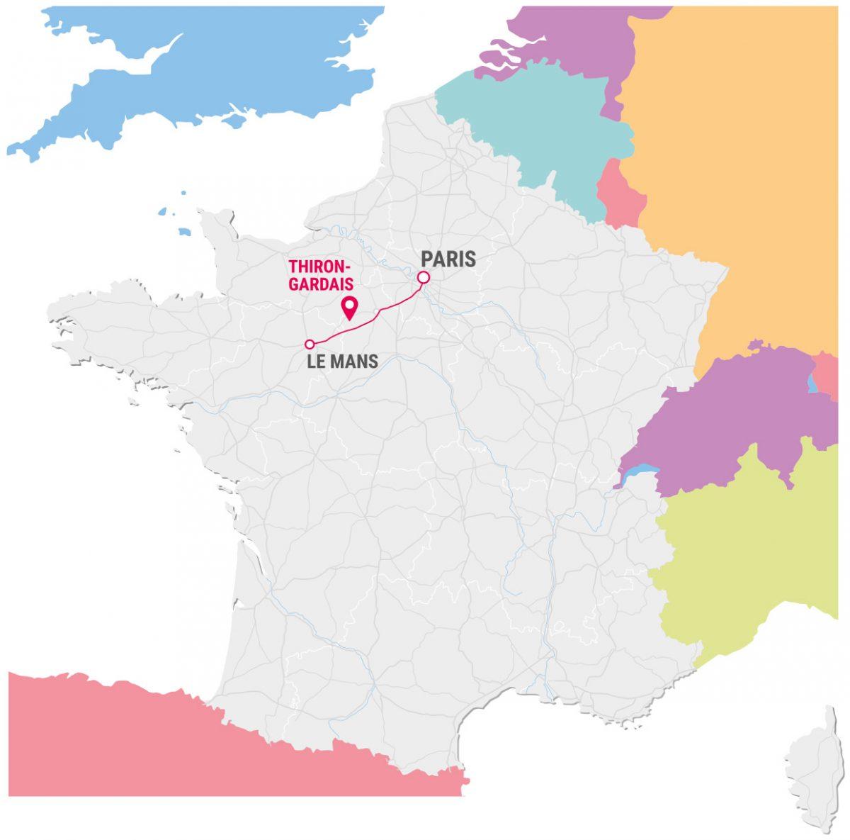 le mans carte france Clip Location in France, Perch
